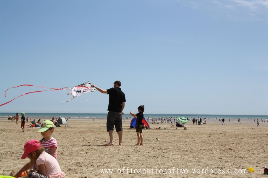 Flying a kite at Camber sands