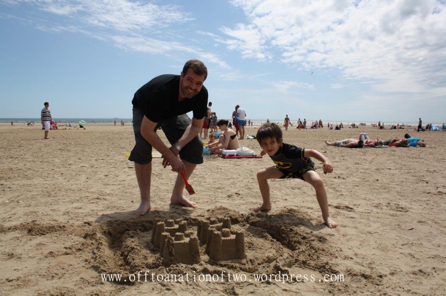 making sand castles at Camber Sands