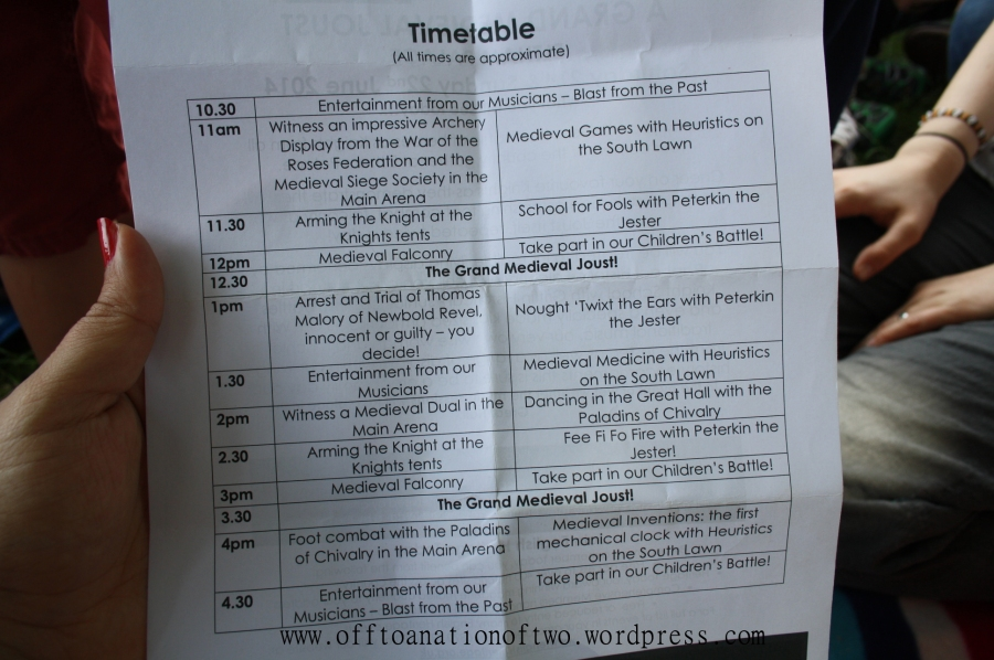 timetable jousting